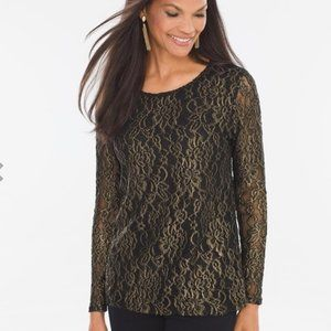 Chico's Foiled Lace Top